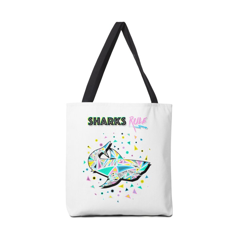 Sharks Rule! - Retro 80s Inspired Accessories Tote Bag Bag by Moon Bear Design Studio's Artist Shop