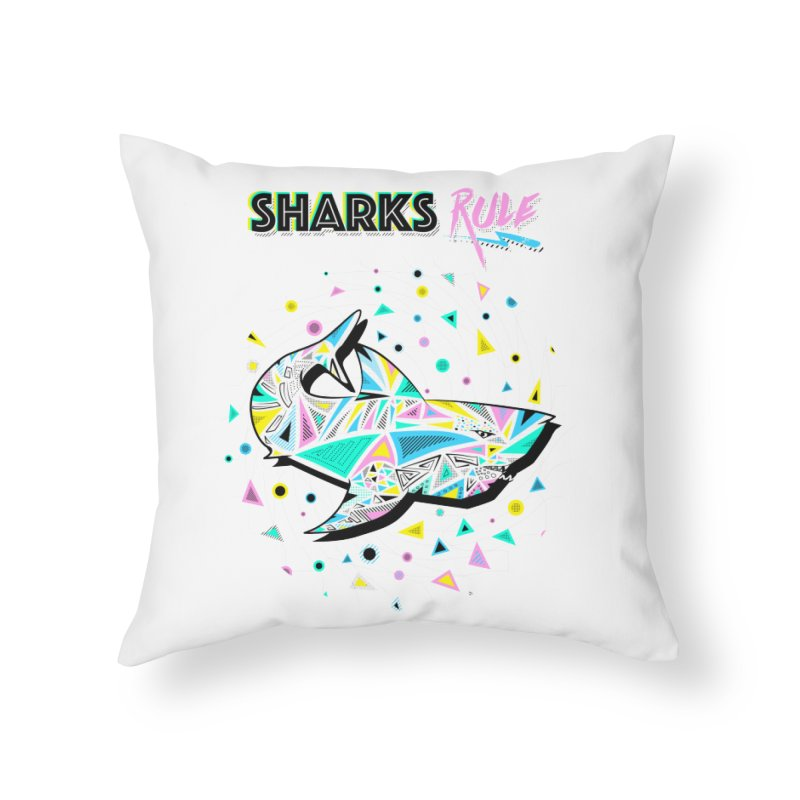 Sharks Rule! - Retro 80s Inspired Home Throw Pillow by Moon Bear Design Studio's Artist Shop