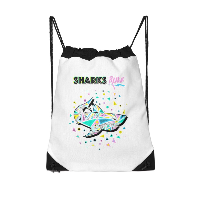 Sharks Rule! - Retro 80s Inspired Accessories Drawstring Bag Bag by Moon Bear Design Studio's Artist Shop