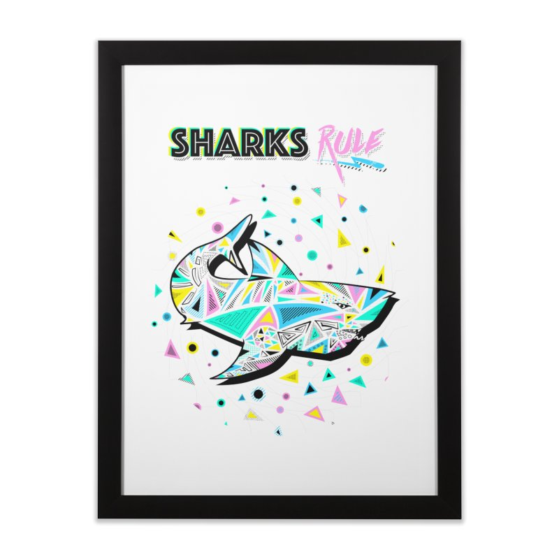 Sharks Rule! - Retro 80s Inspired Home Framed Fine Art Print by Moon Bear Design Studio's Artist Shop