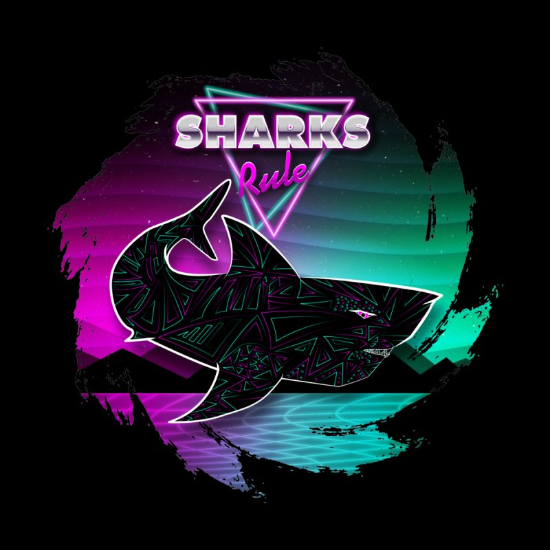 Retro Space Shark - 80s Inspired Men's T-Shirt by Moon Bear Design Studio's Artist Shop