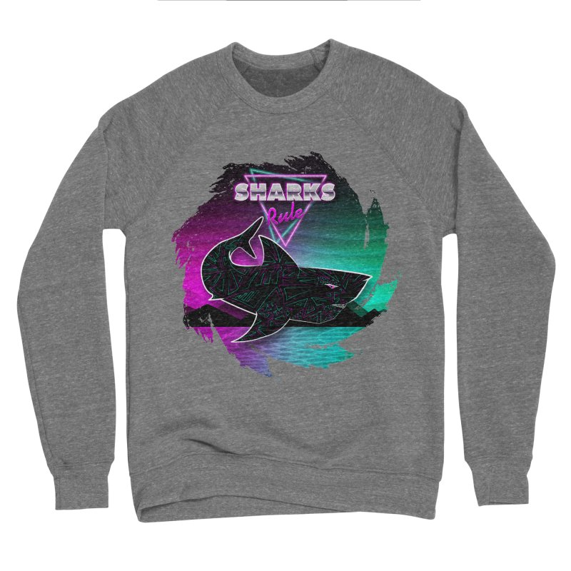 Retro Space Shark - 80s Inspired Men's Sponge Fleece Sweatshirt by Moon Bear Design Studio's Artist Shop