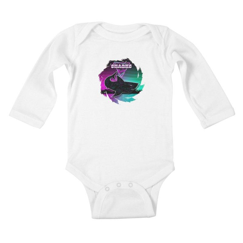 Retro Space Shark - 80s Inspired Kids Baby Longsleeve Bodysuit by Moon Bear Design Studio's Artist Shop