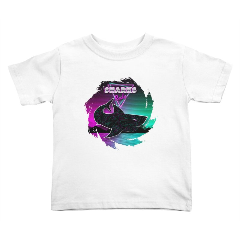 Retro Space Shark - 80s Inspired Kids Toddler T-Shirt by Moon Bear Design Studio's Artist Shop