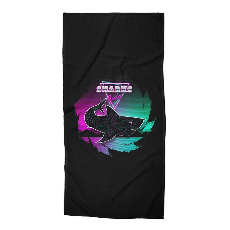 Retro Space Shark - 80s Inspired Accessories Beach Towel by Moon Bear Design Studio's Artist Shop