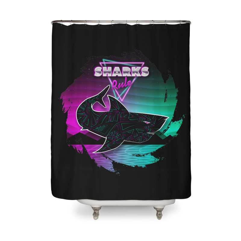 Retro Space Shark - 80s Inspired Home Shower Curtain by Moon Bear Design Studio's Artist Shop