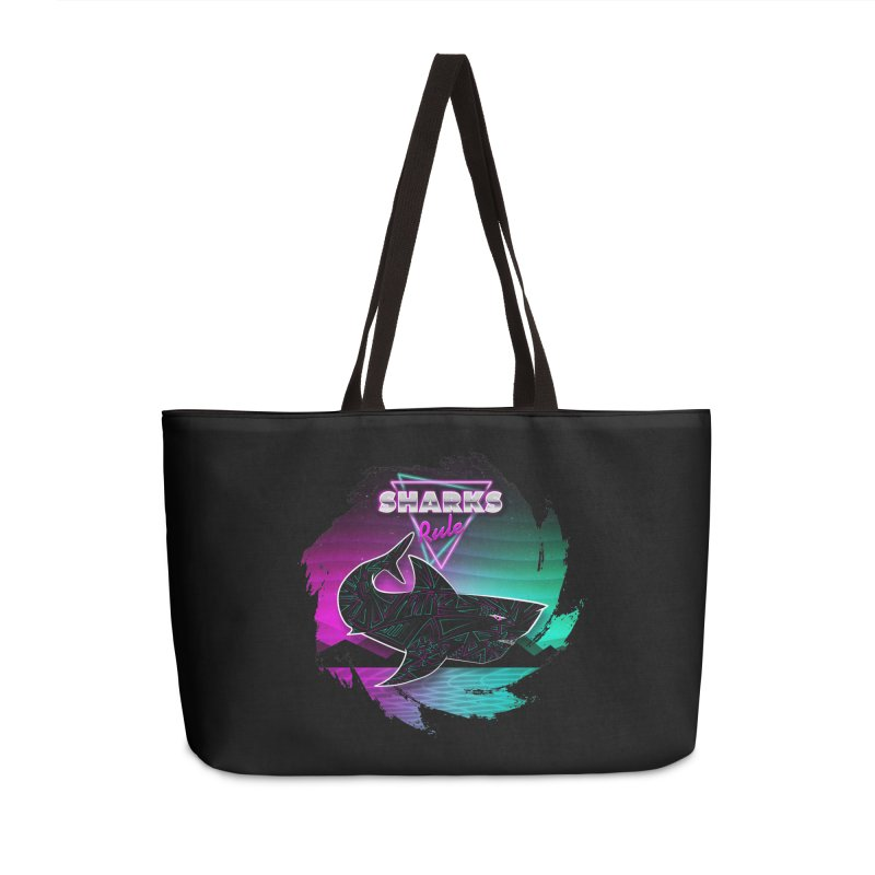 Retro Space Shark - 80s Inspired Accessories Weekender Bag Bag by Moon Bear Design Studio's Artist Shop
