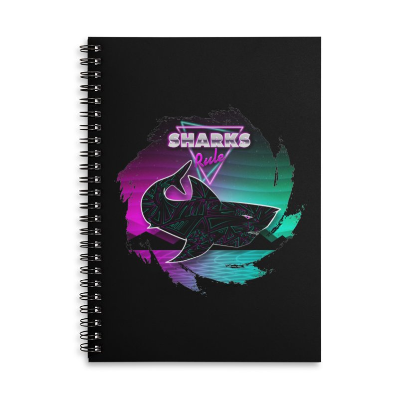 Retro Space Shark - 80s Inspired Accessories Lined Spiral Notebook by Moon Bear Design Studio's Artist Shop