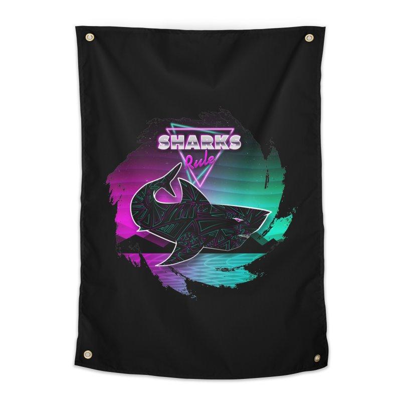 Retro Space Shark - 80s Inspired Home Tapestry by Moon Bear Design Studio's Artist Shop