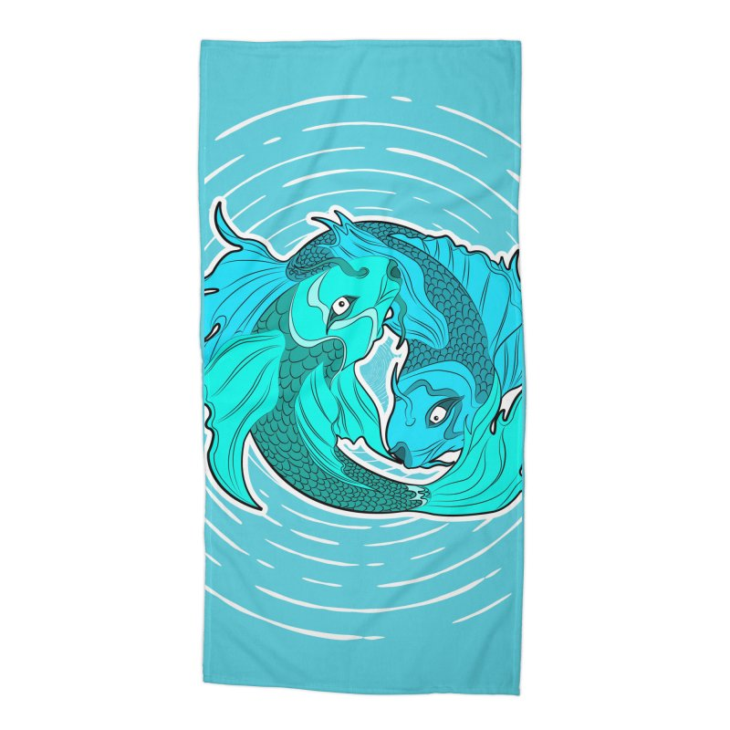 Coy Fish Love Accessories Beach Towel by Moon Bear Design Studio's Artist Shop