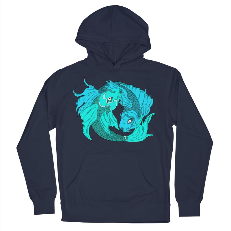 Coy Fish Love Men's French Terry Pullover Hoody by Moon Bear Design Studio's Artist Shop