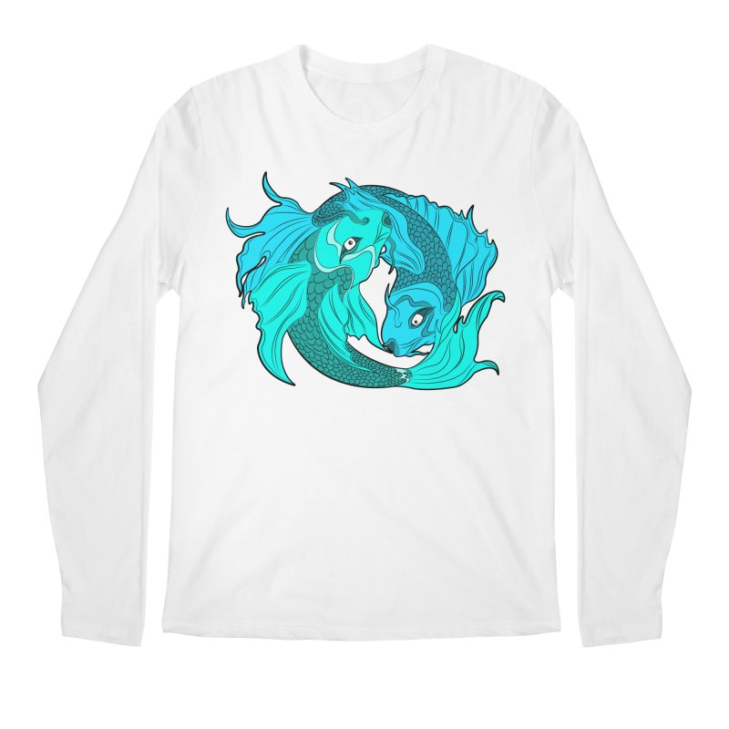 Coy Fish Love Men's Regular Longsleeve T-Shirt by Moon Bear Design Studio's Artist Shop