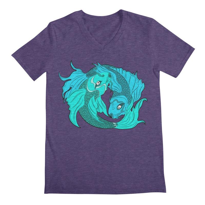 Coy Fish Love Men's Regular V-Neck by Moon Bear Design Studio's Artist Shop