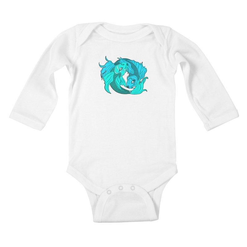 Coy Fish Love Kids Baby Longsleeve Bodysuit by Moon Bear Design Studio's Artist Shop