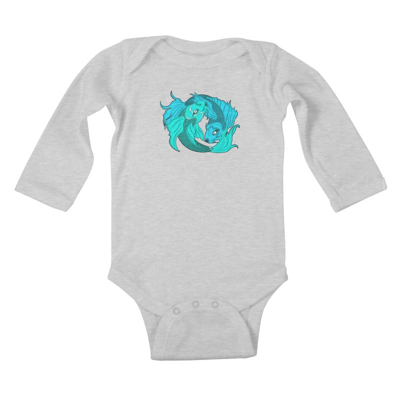 Coy Fish Love Kids Baby Longsleeve Bodysuit by Moon Bear Design Studio's Artist Shop