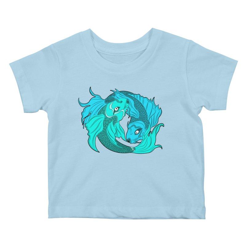 Coy Fish Love Kids Baby T-Shirt by Moon Bear Design Studio's Artist Shop