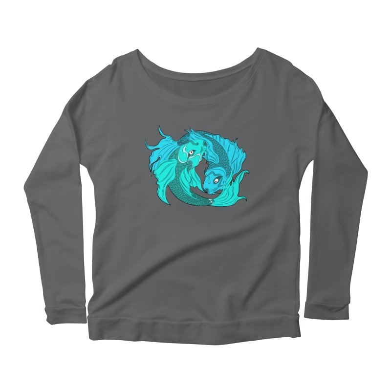 Coy Fish Love Women's Scoop Neck Longsleeve T-Shirt by Moon Bear Design Studio's Artist Shop