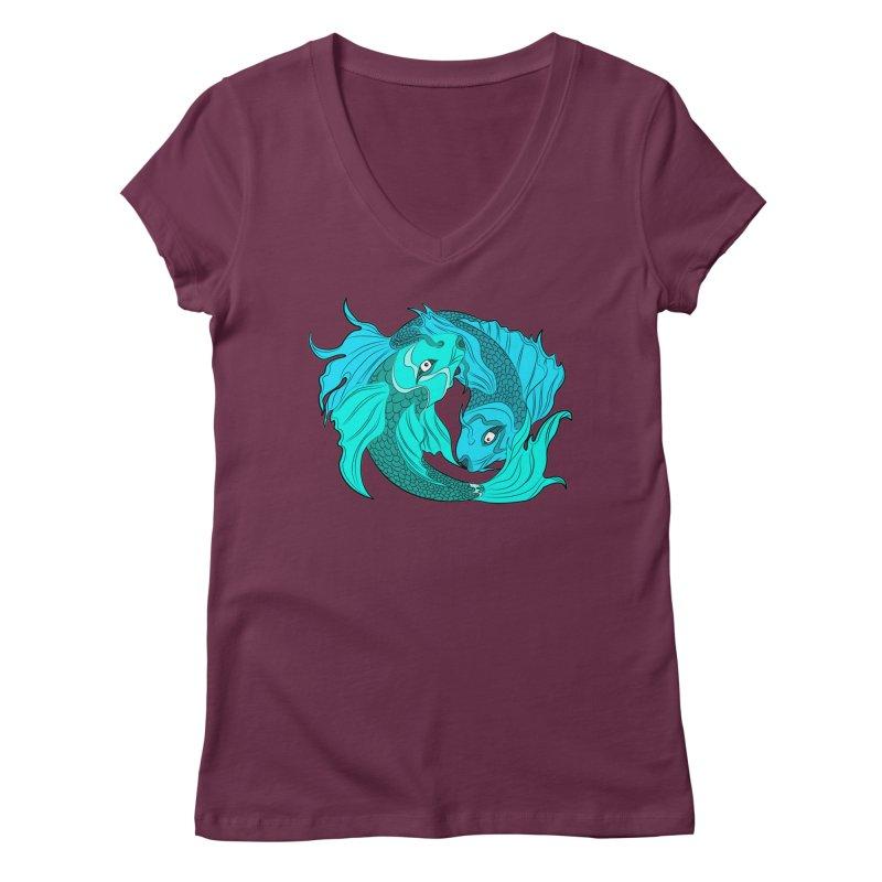 Coy Fish Love Women's Regular V-Neck by Moon Bear Design Studio's Artist Shop