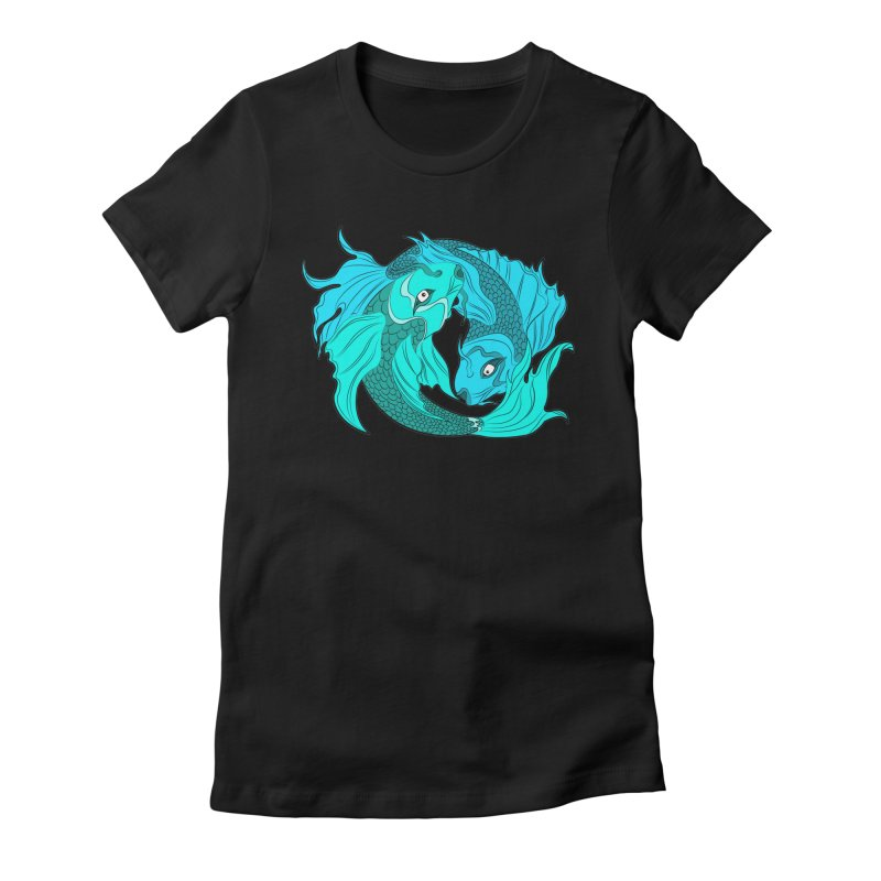 Coy Fish Love Women's Fitted T-Shirt by Moon Bear Design Studio's Artist Shop