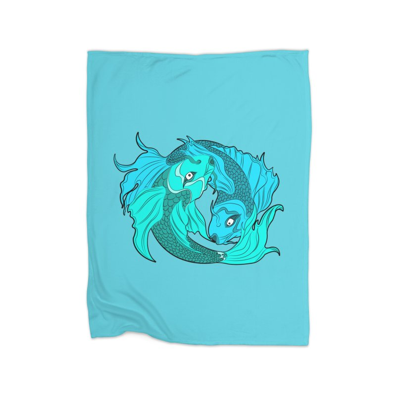 Coy Fish Love Home Fleece Blanket Blanket by Moon Bear Design Studio's Artist Shop