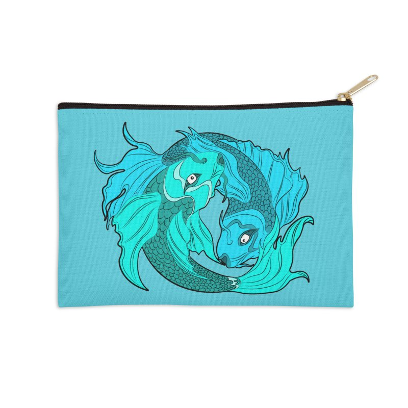 Coy Fish Love Accessories Zip Pouch by Moon Bear Design Studio's Artist Shop