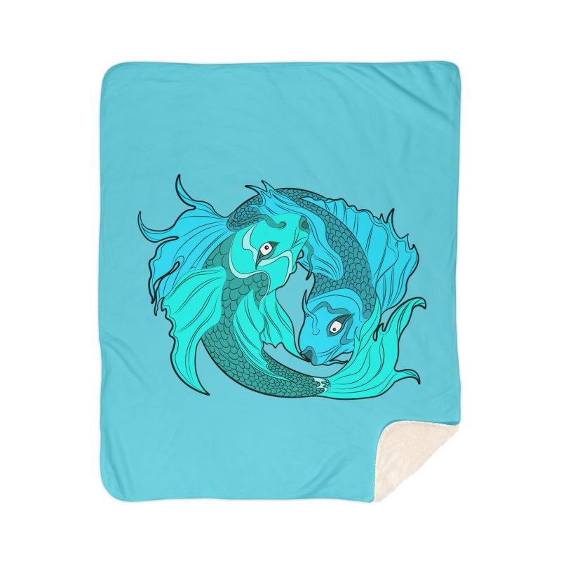 Coy Fish Love Home Sherpa Blanket Blanket by Moon Bear Design Studio's Artist Shop