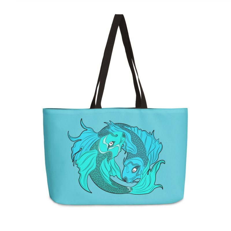 Coy Fish Love Accessories Weekender Bag Bag by Moon Bear Design Studio's Artist Shop