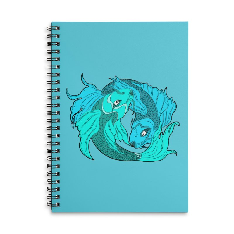 Coy Fish Love Accessories Lined Spiral Notebook by Moon Bear Design Studio's Artist Shop