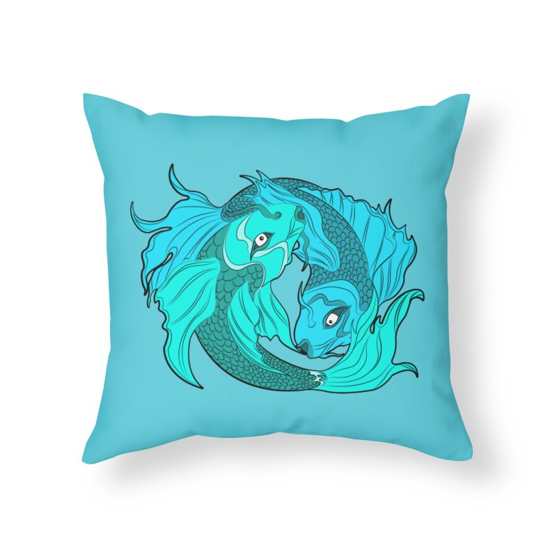 Coy Fish Love Home Throw Pillow by Moon Bear Design Studio's Artist Shop