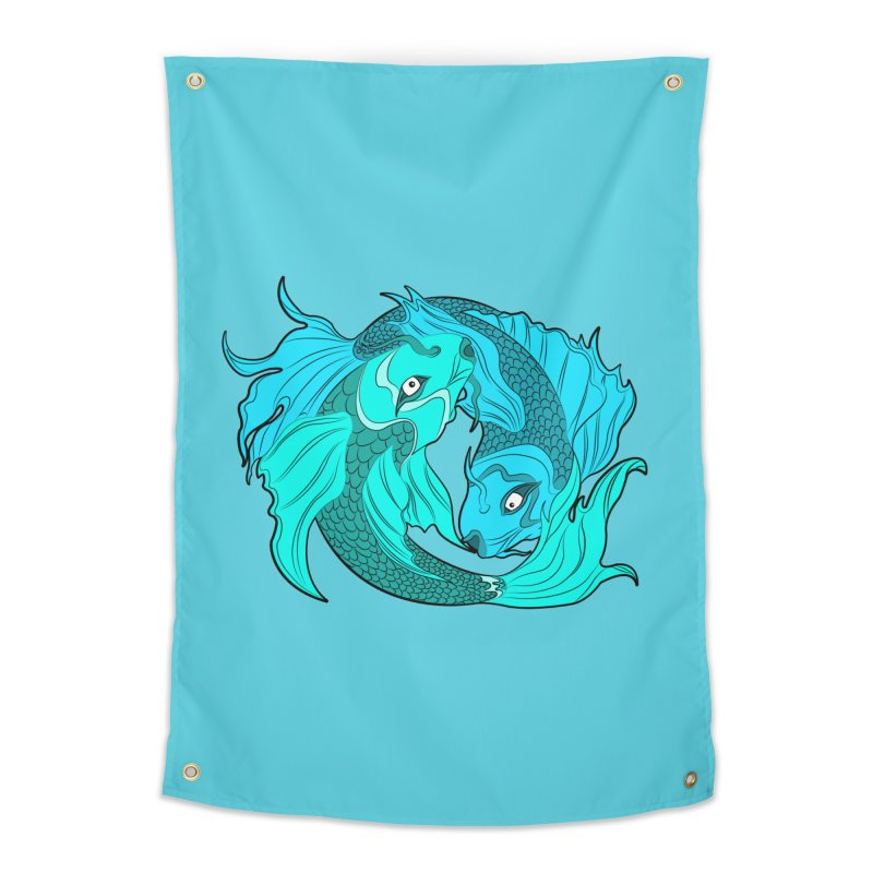 Coy Fish Love Home Tapestry by Moon Bear Design Studio's Artist Shop