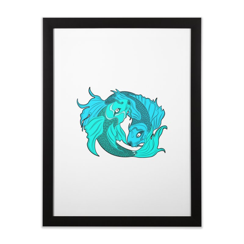 Coy Fish Love Home Framed Fine Art Print by Moon Bear Design Studio's Artist Shop