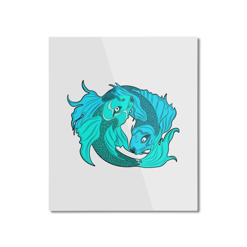 Coy Fish Love Home Mounted Aluminum Print by Moon Bear Design Studio's Artist Shop