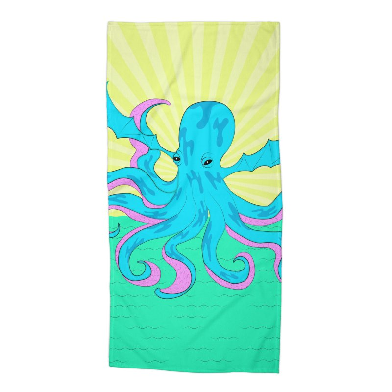 Pop Art Octobat with Sunrays Accessories Beach Towel by Moon Bear Design Studio's Artist Shop