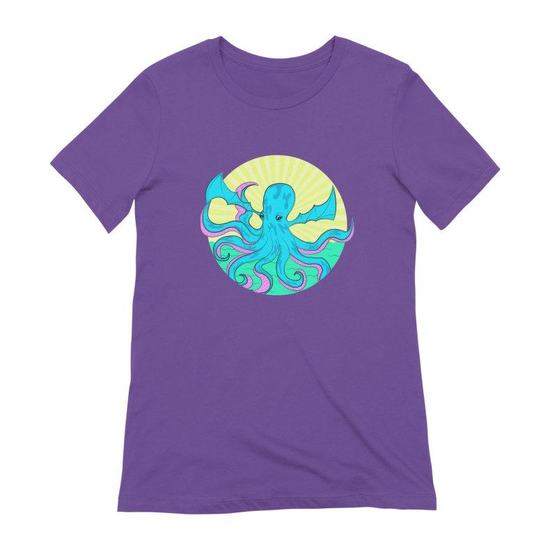 Pop Art Octobat with Sunrays Women's Extra Soft T-Shirt by Moon Bear Design Studio's Artist Shop