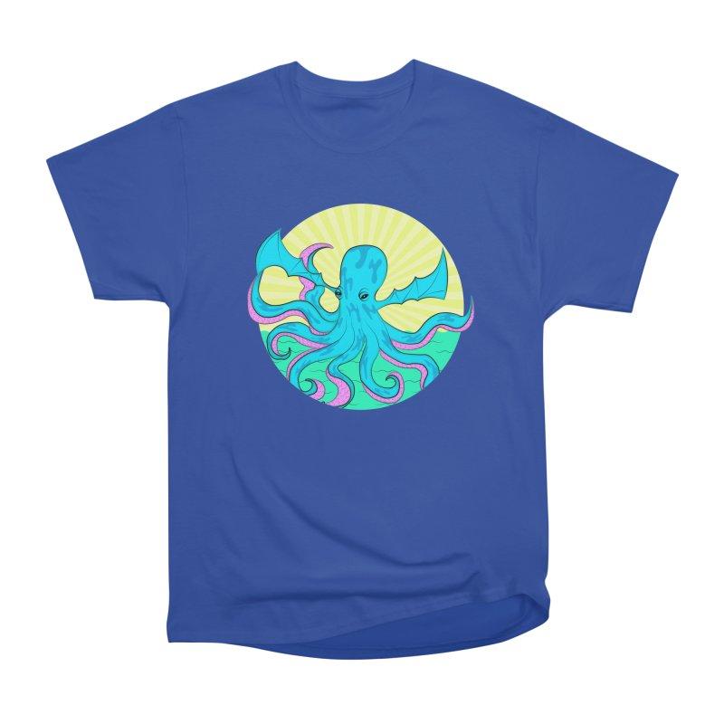 Pop Art Octobat with Sunrays Men's Heavyweight T-Shirt by Moon Bear Design Studio's Artist Shop