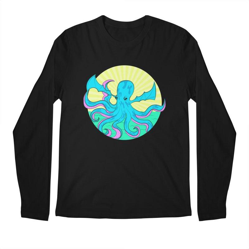 Pop Art Octobat with Sunrays Men's Regular Longsleeve T-Shirt by Moon Bear Design Studio's Artist Shop