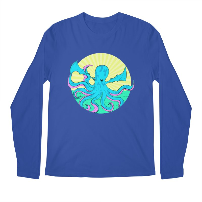 Pop Art Octobat with Sunrays Men's Regular Longsleeve T-Shirt by Moon Bear Design Studio's Artist Shop