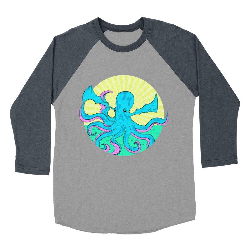 Pop Art Octobat with Sunrays Men's Baseball Triblend Longsleeve T-Shirt by Moon Bear Design Studio's Artist Shop
