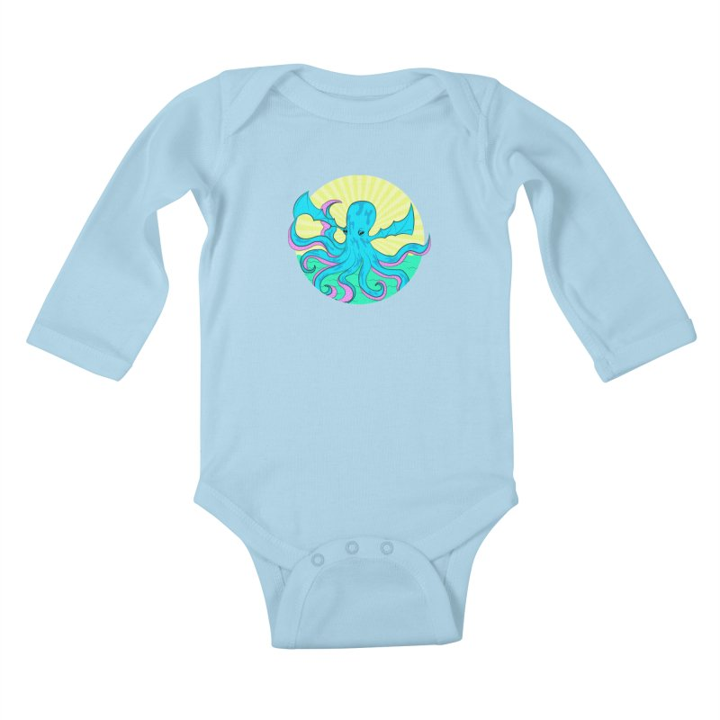 Pop Art Octobat with Sunrays Kids Baby Longsleeve Bodysuit by Moon Bear Design Studio's Artist Shop