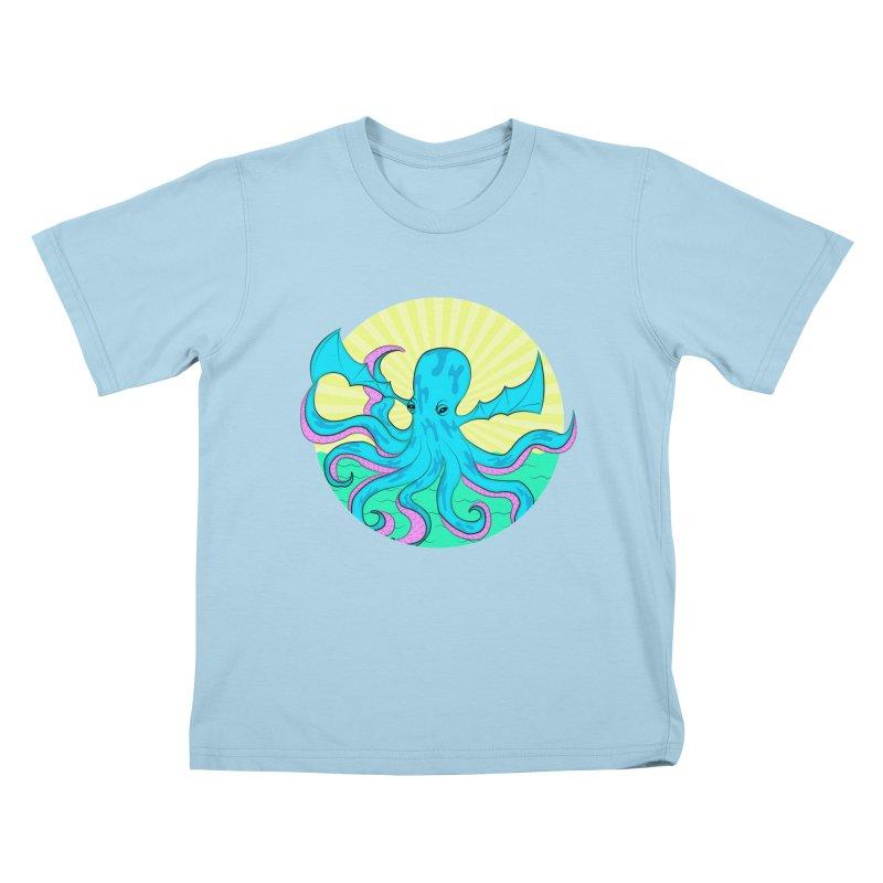 Pop Art Octobat with Sunrays Kids T-Shirt by Moon Bear Design Studio's Artist Shop