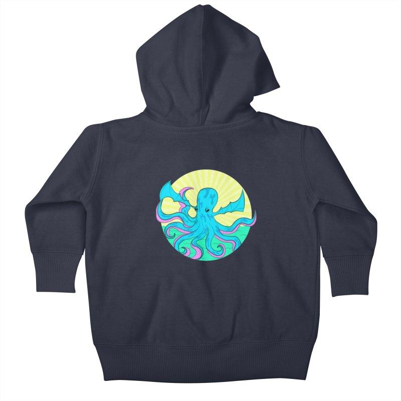 Pop Art Octobat with Sunrays Kids Baby Zip-Up Hoody by Moon Bear Design Studio's Artist Shop