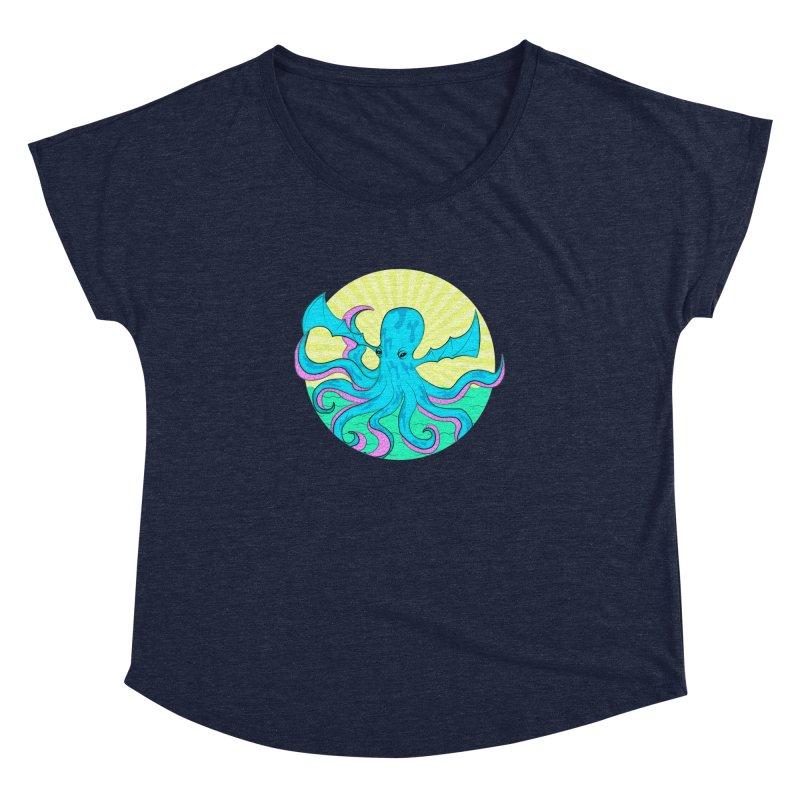Pop Art Octobat with Sunrays Women's Dolman Scoop Neck by Moon Bear Design Studio's Artist Shop