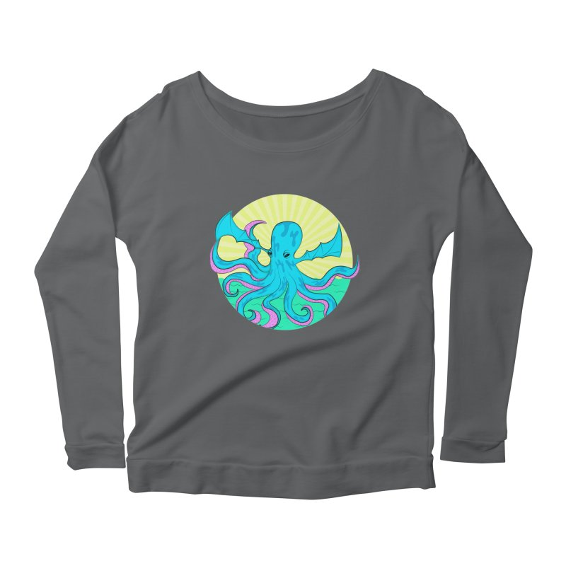 Pop Art Octobat with Sunrays Women's Scoop Neck Longsleeve T-Shirt by Moon Bear Design Studio's Artist Shop