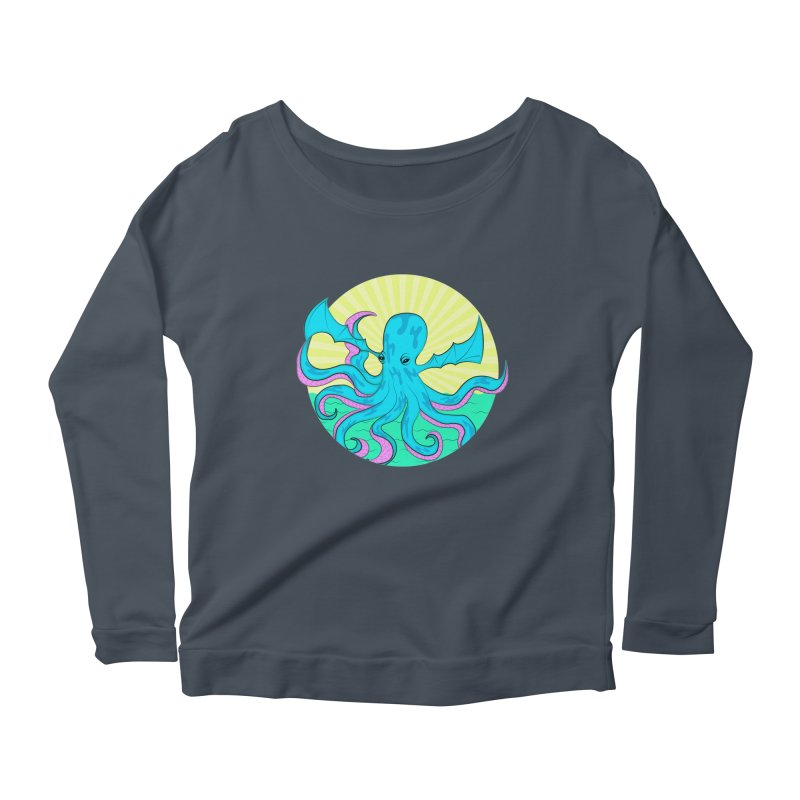 Pop Art Octobat with Sunrays Women's Scoop Neck Longsleeve T-Shirt by Moon Bear Design Studio's Artist Shop