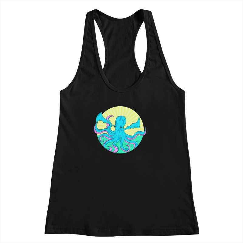 Pop Art Octobat with Sunrays Women's Racerback Tank by Moon Bear Design Studio's Artist Shop