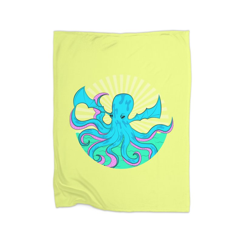 Pop Art Octobat with Sunrays Home Fleece Blanket Blanket by Moon Bear Design Studio's Artist Shop