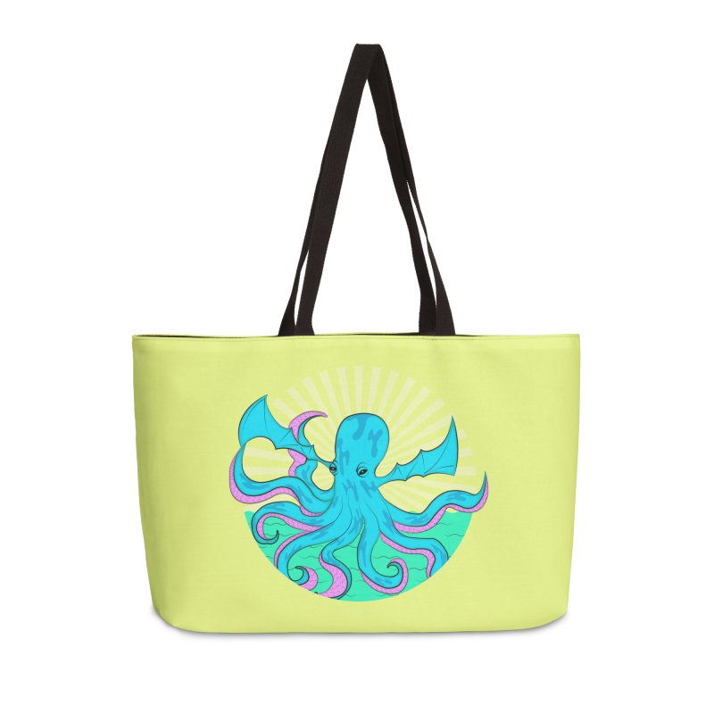 Pop Art Octobat with Sunrays Accessories Weekender Bag Bag by Moon Bear Design Studio's Artist Shop