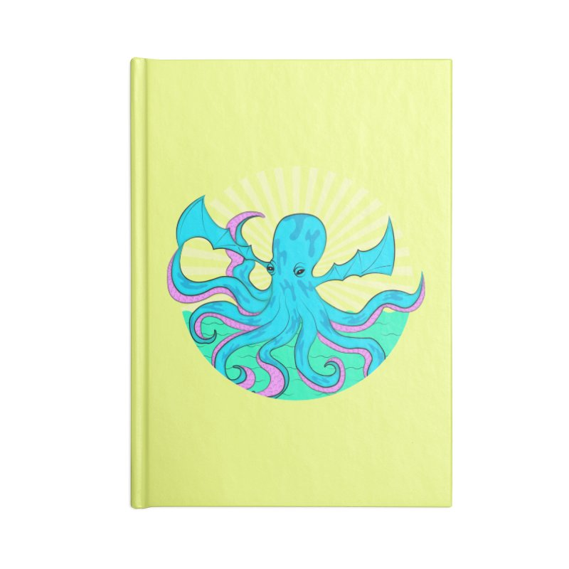 Pop Art Octobat with Sunrays Accessories Blank Journal Notebook by Moon Bear Design Studio's Artist Shop