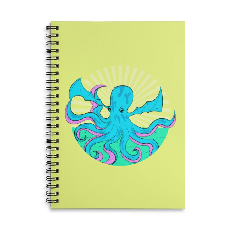 Pop Art Octobat with Sunrays Accessories Lined Spiral Notebook by Moon Bear Design Studio's Artist Shop