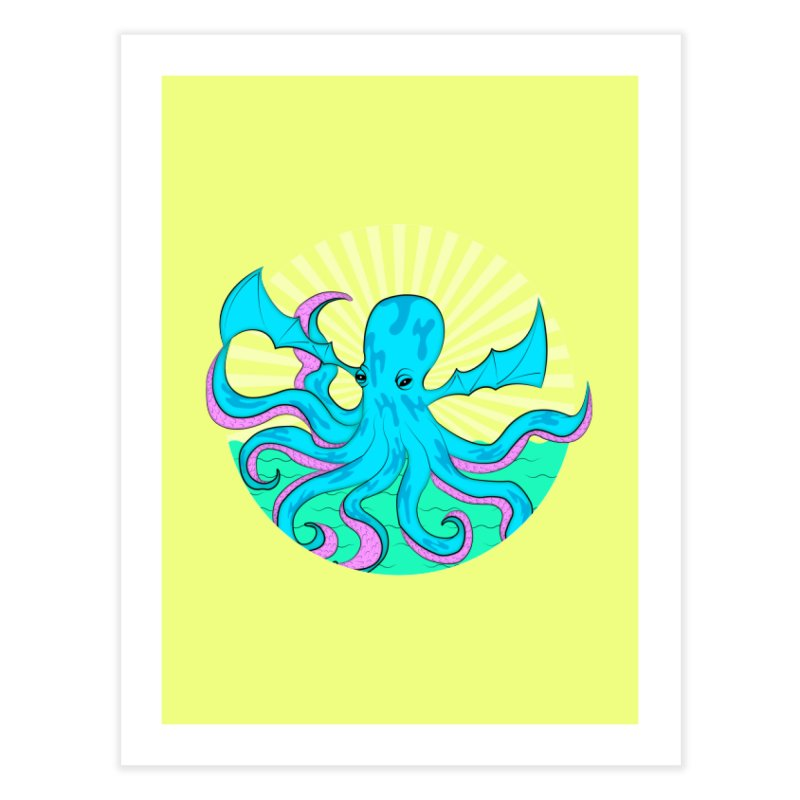 Pop Art Octobat with Sunrays Home Fine Art Print by Moon Bear Design Studio's Artist Shop